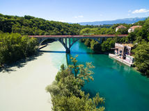 Aerial view of Arve an Rhone river confluent in  Geneva Switzerl Royalty Free Stock Photos