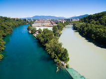 Aerial view of Arve an Rhone river confluent, Geneva Switzerl Stock Images