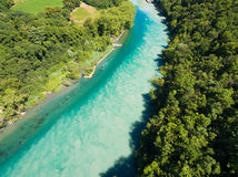 Aerial view of Arve an Rhone river confluent in  Geneva Switzerl Stock Photography