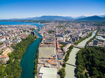 Aerial view of Arve an Rhone river confluent in  Geneva Switzerl Stock Image
