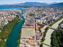 Aerial view of Arve an Rhone river confluent in  Geneva Switzerl Royalty Free Stock Photo