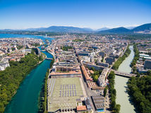 Aerial view of Arve an Rhone river confluent in  Geneva Switzerl Royalty Free Stock Images
