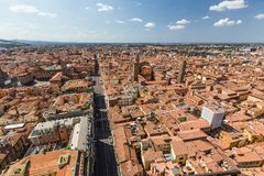 Aerial view from Asinelli tower in Bologna, Italy Royalty Free Stock Images