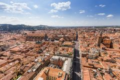 Aerial view from Asinelli tower in Bologna, Italy Royalty Free Stock Image