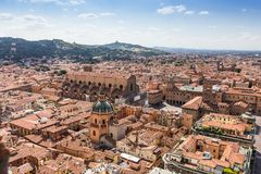 Aerial view from Asinelli tower in Bologna, Italy Stock Image