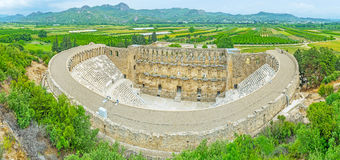 Aerial view of Aspendos amphitheater Royalty Free Stock Images
