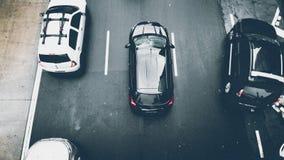 Aerial, View, Asphalt, Cars Stock Photography