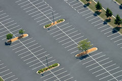 Aerial View of Asphalt Parking lot Royalty Free Stock Images