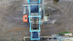 Asphalt concrete plant aerial photography stock video