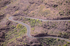 Aerial View of an Asphalt Road Stock Photo