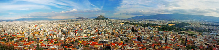 Aerial view of Athen with Lycabettus Hill. Stitched panorama - Aerial view olf Athen with Lycabettus Hill, Greece royalty free stock photo