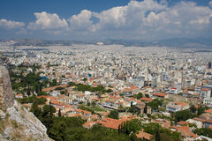 Aerial view of Athens city. Aerial or high angle view of Athens city with cloudscape background viewed from Acropolis, Greece royalty free stock photography
