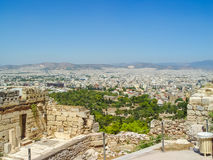 Aerial view of Athens city the capital of  Greece. Athens, Greece - august 23, 2011: Aerial view of Athens city the capital of  Greece and one of the world`s Royalty Free Stock Photos