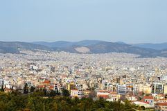 Aerial view of Athens, Greece. Aerial view of skyline of Athens, Greece with modern architecture in hills Stock Photo