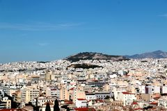 Aerial View of Athens and Mount Lycabettus from Areopagus Hill, Athens, Greece.  Royalty Free Stock Photo