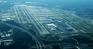 Aerial View - Atlanta Hartsfield-Jackson International Airport. Aerial view of Atlanta airport.  Hartsfield Jackson.  Terminal gates and taxiways and runways Stock Image