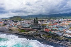 Aerial view of Atlantic coast at Ribeira Grande. Blue water and clouds. Island of Sao Miguel, Azores Islands, Portugal, Europe