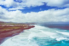 Aerial view of Atlantic coast at Ribeira Grande. Blue water and clouds. Island of Sao Miguel, Azores Islands, Portugal, Europe.  stock photo