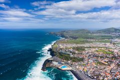 Aerial view of Atlantic coast at Ribeira Grande. Blue water and clouds. Island of Sao Miguel, Azores Islands, Portugal, Europe.  stock image