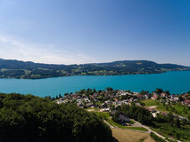AERIAL view of Attersee lake,  Attersee, Upper Austria, Austria Royalty Free Stock Photo