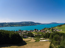 AERIAL view of Attersee lake,  Attersee, Upper Austria, Austria Stock Photos