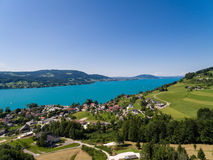 AERIAL view of Attersee lake,  Attersee, Upper Austria, Austria Stock Photo