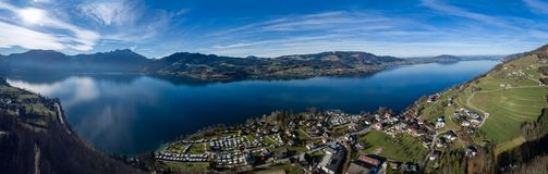 Aerial view of Attersee is the largest lake of the Salzkammergut. View of Attersee is the largest lake of the Salzkammergut region in the Austrian state of Upper Stock Photography