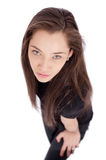 Aerial view of attractive young brunette Royalty Free Stock Photography