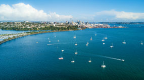 Aerial view on Auckland city center over Waitemata Harbour. New Zealand Royalty Free Stock Photos