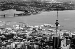Aerial view of Auckland financial center against the Waitemata H Stock Images