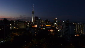 Aerial view of Auckland Financial Center at dusk stock video