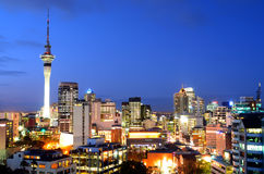 Aerial view of Auckland financial center skyline at dusk. AUCKLAND - AUG 20 2015:Aerial view of Auckland financial center skyline at duskt. Auckland New Zealand royalty free stock photography