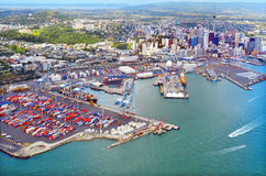 Aerial view of  Auckland financial and the ports of Auckland New Zealand. Stock Image