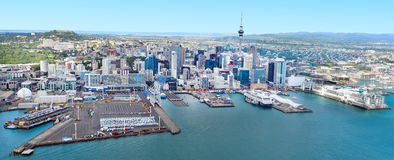 Aerial view of  Auckland financial and the ports of Auckland New Zealand. Stock Images