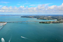 Aerial view of Auckland harbour bridge Royalty Free Stock Images