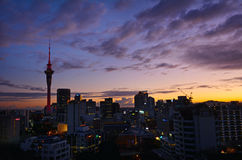 Aerial view of Auckland skyline at sunriser - New Zealand Royalty Free Stock Photography