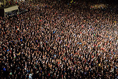 Aerial view of the audience at Heineken Primavera Sound 2014 Royalty Free Stock Photos