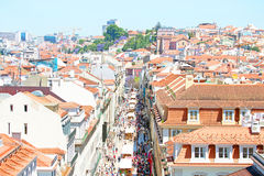 Aerial view of the Augusta Street in Lisbon Portugal Stock Photos