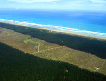 Aerial view of Aupouri Pine Forest, New Zealand. Aerial view of Aupouri Forest (Pine Plantation to help erosion) alongside Ninety Mile Beach, Northland, New Royalty Free Stock Photos