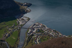 Aerial view of Aurland, Norway. By Aurlandsfjorden Royalty Free Stock Photo