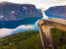 Aerial view. Fjord landscape at Stegastein viewpoint Norway stock photos
