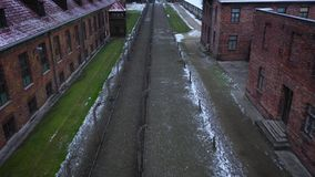 Aerial view of Auschwitz Birkenau, a concentration camp in Poland. During World War II stock video footage