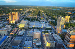 Aerial view of Austin, Texas. Aerial view of downtown Austin, Texas on sunny day Royalty Free Stock Photos