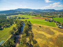 Aerial view of Australian countryside. Ovens River, Myrtleford, Royalty Free Stock Image