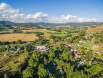 Aerial view of Australian countryside at sunset. Stock Photo