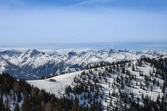 Aerial view of Austrian Alps in Winter. View from top of the mountain Royalty Free Stock Image