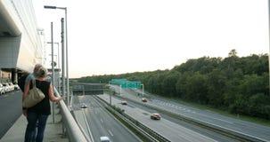 Aerial view of autobahn highway Frankfurt stock footage