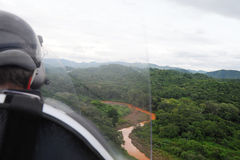 Aerial view from autogyro. Autogyro flying over the tropical landscape Royalty Free Stock Image