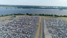 Aerial View of Automobile Car Storage Port of Philadelphia PA Stock Photos