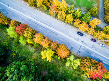 Aerial view - autumn city road Royalty Free Stock Photos